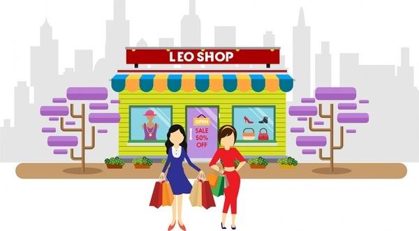 shopping concept design woman posing at shop