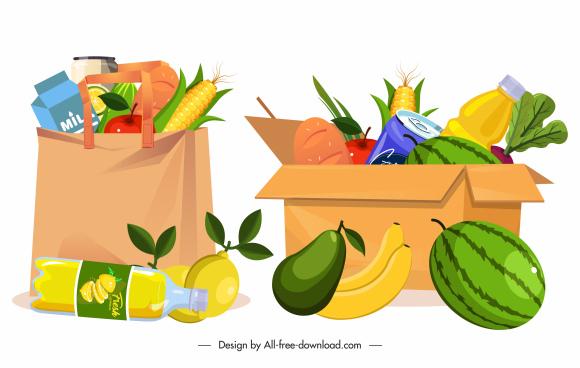 shopping design elements bag box food sketch