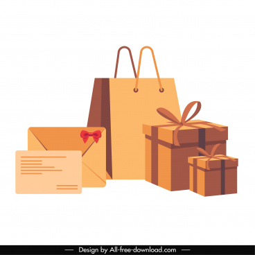 shopping design elements bag giftbox envelope sketch