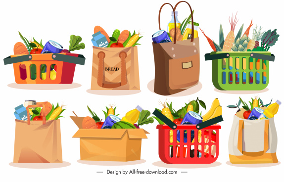 shopping design elements bags carts foods sketch