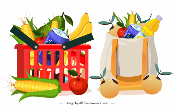 shopping design elements colorful symbols sketch