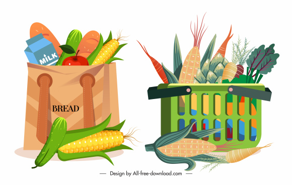 shopping design elements food bags sketch