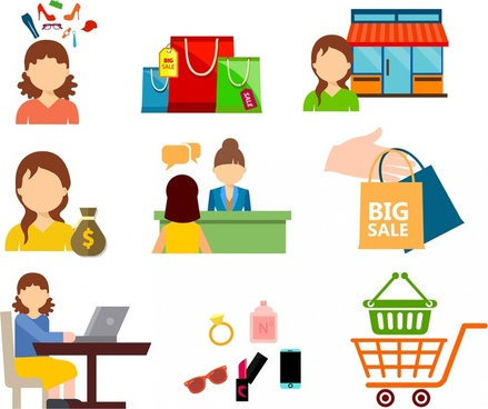 shopping design elements humans and symbols icons isolation