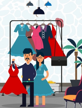 shopping drawing couple choosing dress colored cartoon