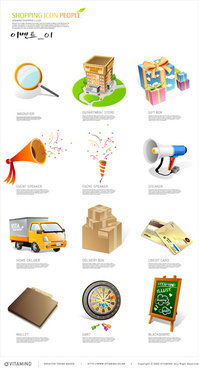 shopping elements icons vector