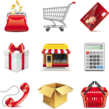 shopping elements icons vector set