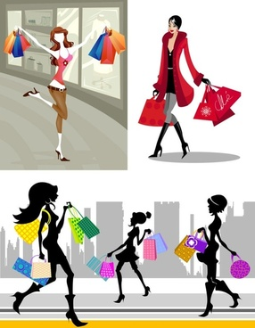 shopping fashion figures vector