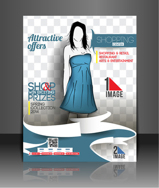 shopping flyers cover with girl vector illustration