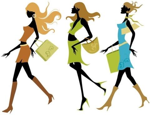 shopping girl 01 vector