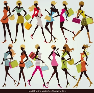 shopping girl 05 vector