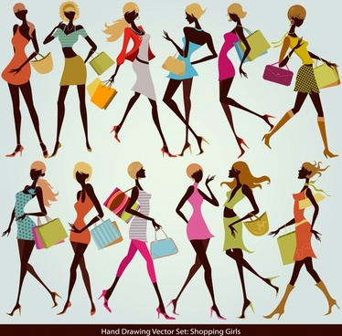 shopping girls icons colorful dynamic sketch