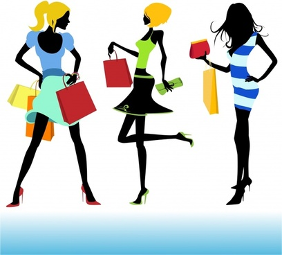 shopping elements icons modern girls sketch colorful silhouettes