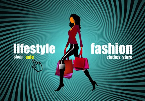shopping girl website design elements vector