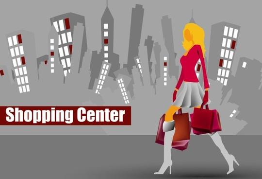 shopping girl website design elements vector