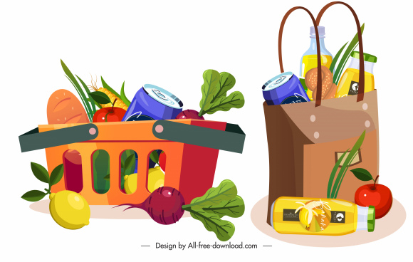 shopping icons bag cart foods sketch colorful design