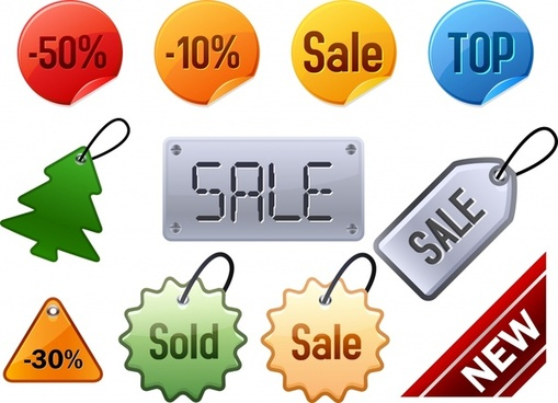 sales tags templates colored flat shapes