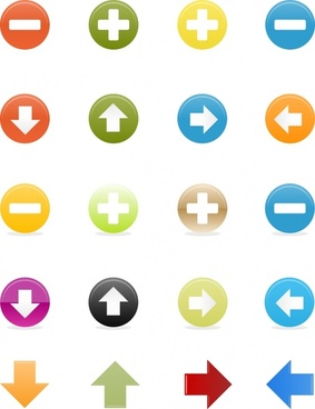 button templates colored flat circles arrows decor
