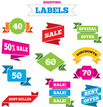 shopping labels origami ribbons vector