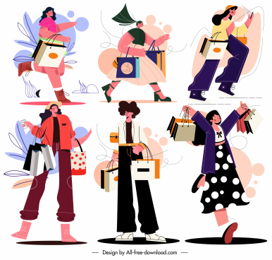 shopping ladies icons colored cartoon characters sketch