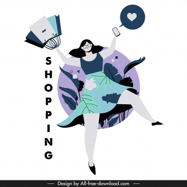 shopping lifestyle icon joyful woman sketch cartoon character