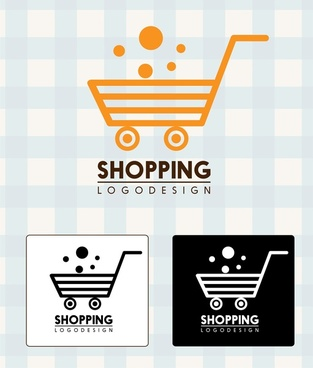 shopping logo design handcart style in various background