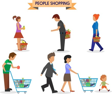 shopping people icons carrying bag and handcart style