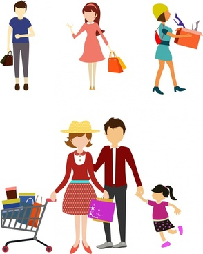 shopping people icons design various gestures in colors