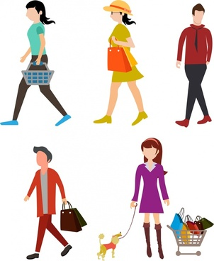 shopping people icons flat color style isolation