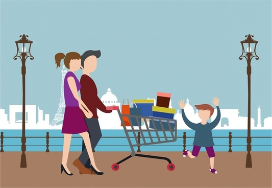 shopping people theme design family pushing cart illustration