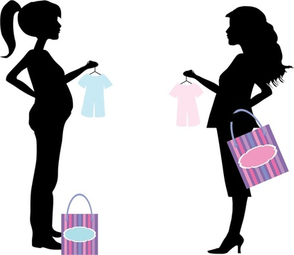 shopping pregnant women illustration with silhouette style