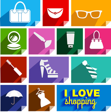 shopping promotion icons with flat vector illustration