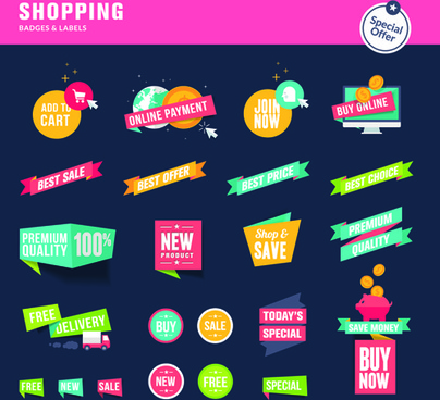 shopping ribbon labels and badges vector