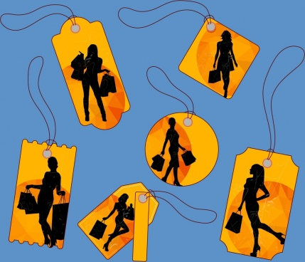 shopping sales tags collection woman silhouettes design