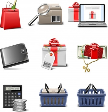 shopping series icons vector