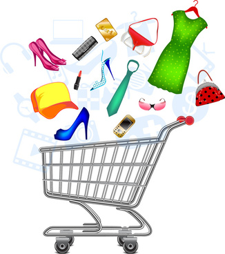 shopping vector illustration with colorful icons