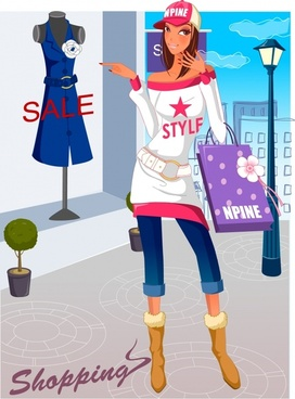 shopping background young fashionable girl icon cartoon character