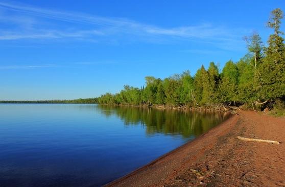 shoreline of inner lake at sleeping giant provincial park ontario canada