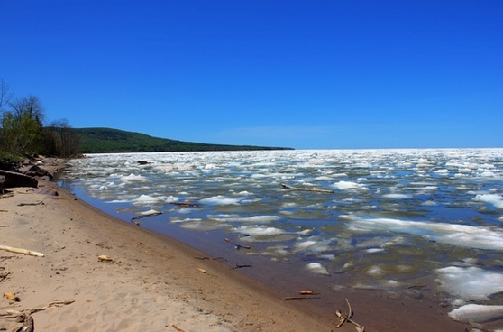shoreline of superior at porcupine mountains state park michigan