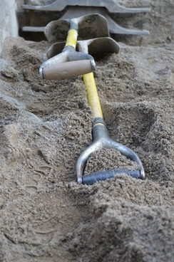 shovels and sand