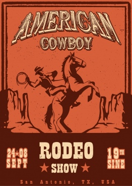 show banner cowboy icon classical design