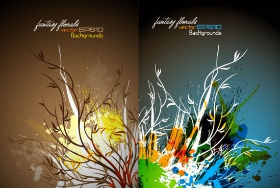 shu wen branches ink vector