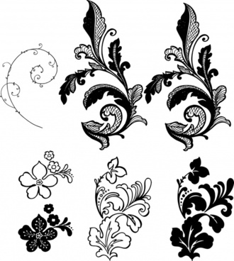 decorative floral leaf templates black white classic sketch