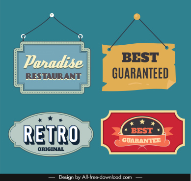 sign label templates colored retro decor