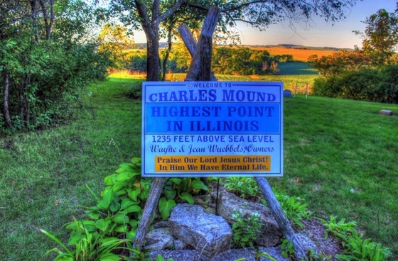 sign marking the top of illinois at charles mound illinois