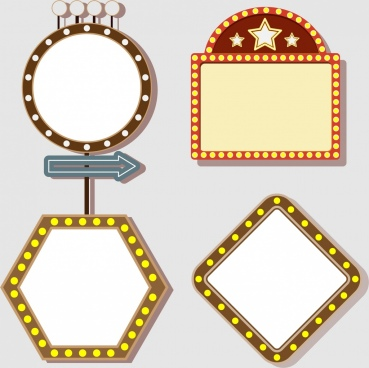 signboard collection various shapes sparkling light decoration