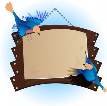 signboard decoration wooden style blue birds ornament