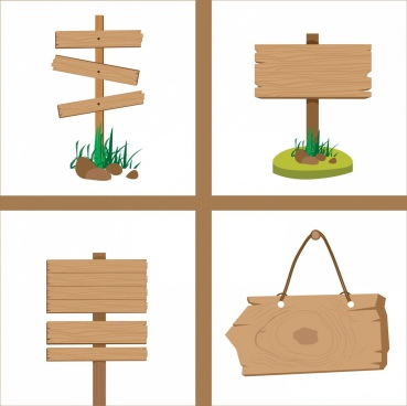 signboard icons collection retro wooden decoration
