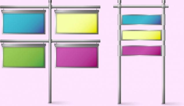 signboard set hanging style colorful rectangular design