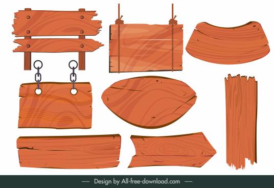 signboard templates wooden plank sketch retro design