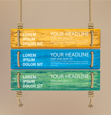 signboard vector with colorful wooden plank illustration